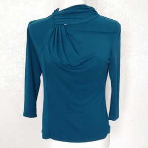 Cable and Gauge petite green/blue long sleeve top